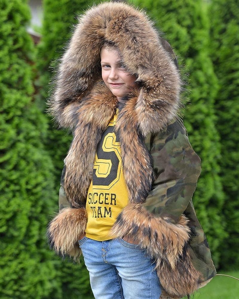 6917f64f6 Amazon.com  Aofur Children Girls Boys Faux Fur Parka Camo Army ...