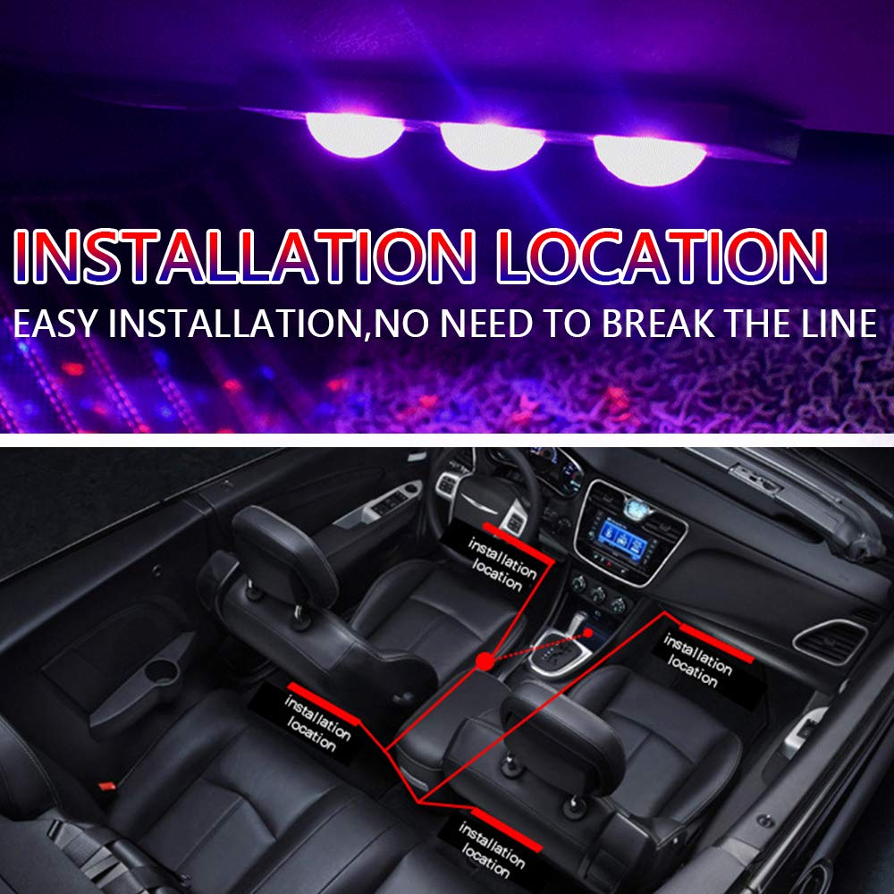 Car Interior Lights,StarLight Car Underglow Lights LED Strip Lights for Car with Remote Control Music Control Car Interior LED lights
