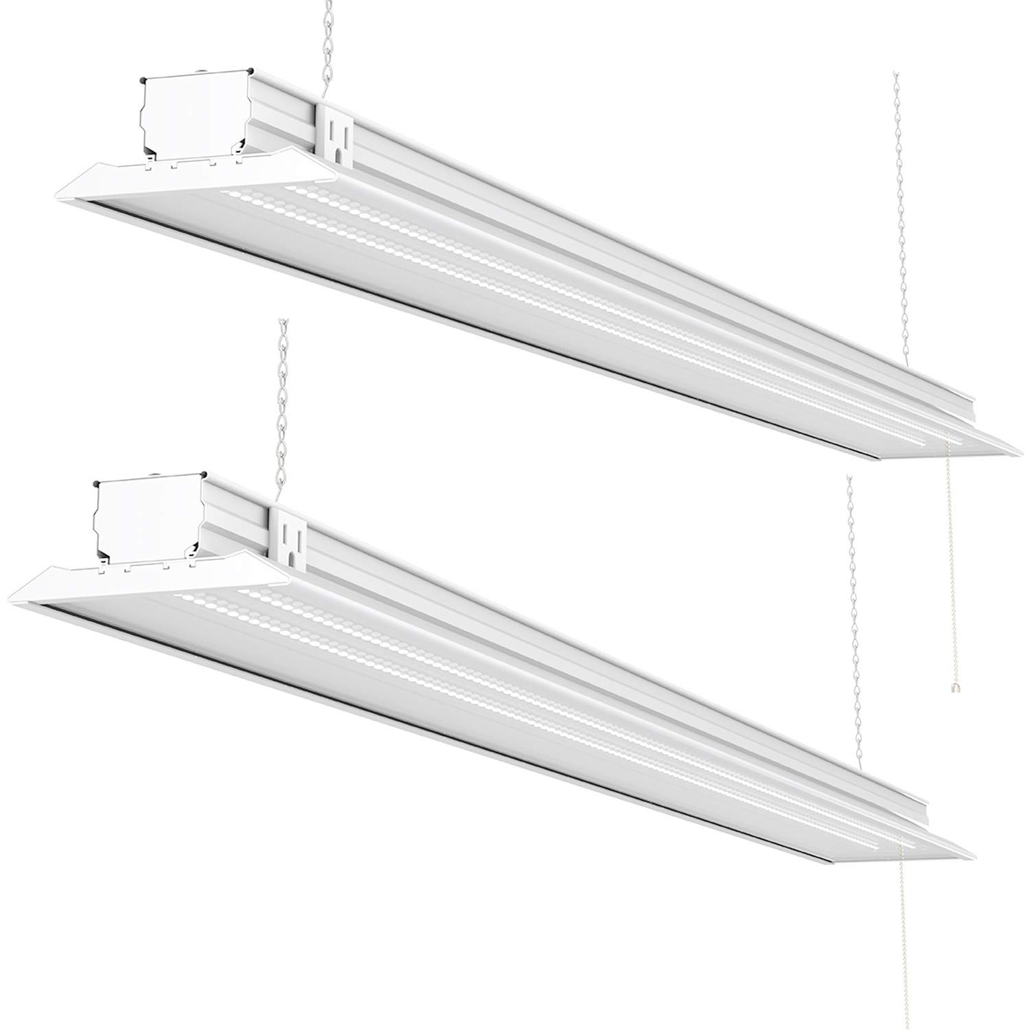 Sunco Lighting 2 Pack Flat LED Shop Light, 4 FT, Linkable Double Integrated LED, 40W=300W, 5000K Daylight, 4500 LM, Clear Lens, Plug in, Suspension Mount, Pull Chain, Garage - ETL + Energy Star by Sunco Lighting