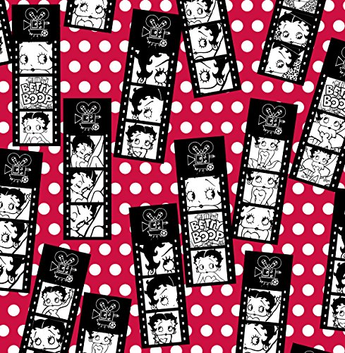 Betty Boop Film Strip Tossed on Red Flannel Fabric-Officially Licensed (Great for Quilting, Sewing, Craft Projects, Quilt, Blanket & More) 1/2 - Licensed Flannel Fabric