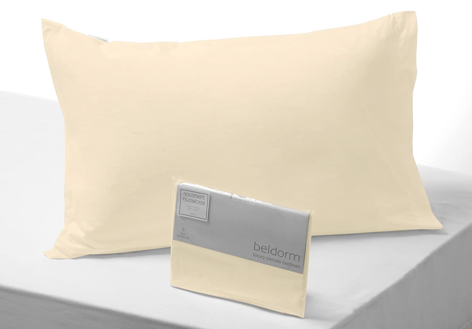Belledorm Egyptian Cotton 400 Thread Housewife Pillowcase, Cream, Housewife - Luxury Quality Bed Linen