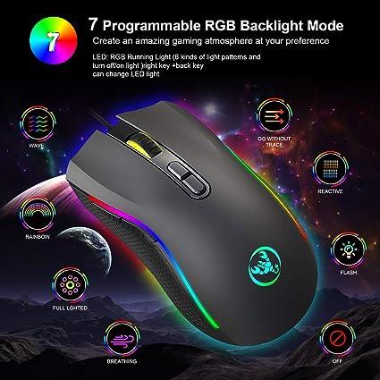 Hehilark Ergonomique Optique Feu Cl/é Professionnel USB Filaire Gaming Souris Souris LED Lumi/ère