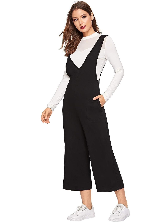 Verdusa Womens Casual Double V Neck Sleeveless Long Tank Culotte Jumpsuit
