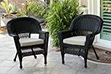 Jeco W00207-C_2-FS006-CS Wicker Chair with Tan Cushion, Set of 2, Black/W00207-C_2-FS006-CS For Sale