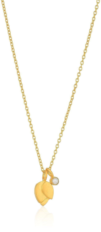 Satya Jewelry Lotus Petal Birthstone Pendant Necklace 18-Inch Purple NG03-FEB-L18