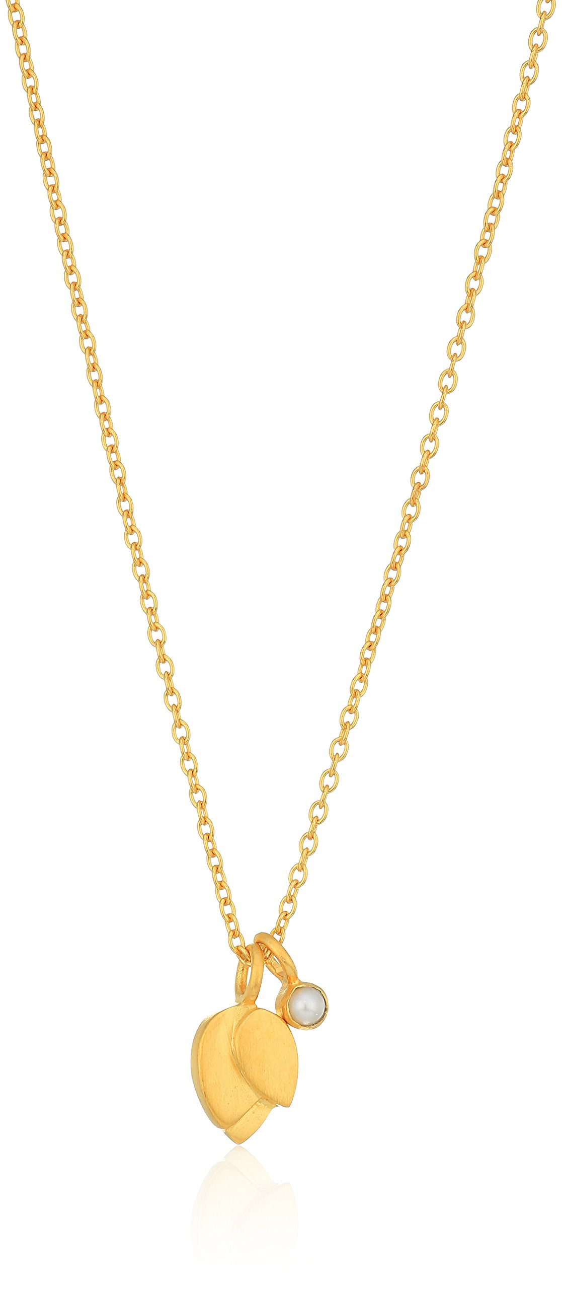 Satya Jewelry Pearl Gold Plate Lotus Petal Birthstone Pendant Necklace, 18-Inch, White