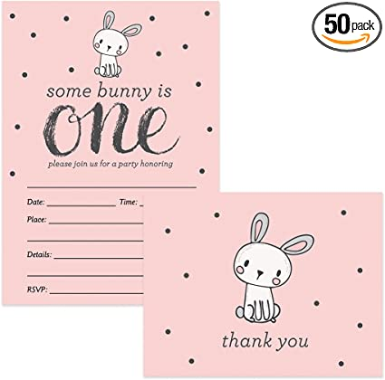1st Birthday Invitations Thank You Cards Baby Girl Matching Set With Envelopes 25 Of Each Cute Pink Bunny Rabbit Fill In Invites Folded Thanks