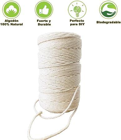 Homvik Cuerda Algodón Natural Cuerda Trenzada 3 mm x 100 m para Hecho a Mano DIY,Macramé, Colgar en la Pared, Colgador de Plantas, Manualidades Decoración Interior Decoración Bohemia Beige: Amazon.es: Hogar
