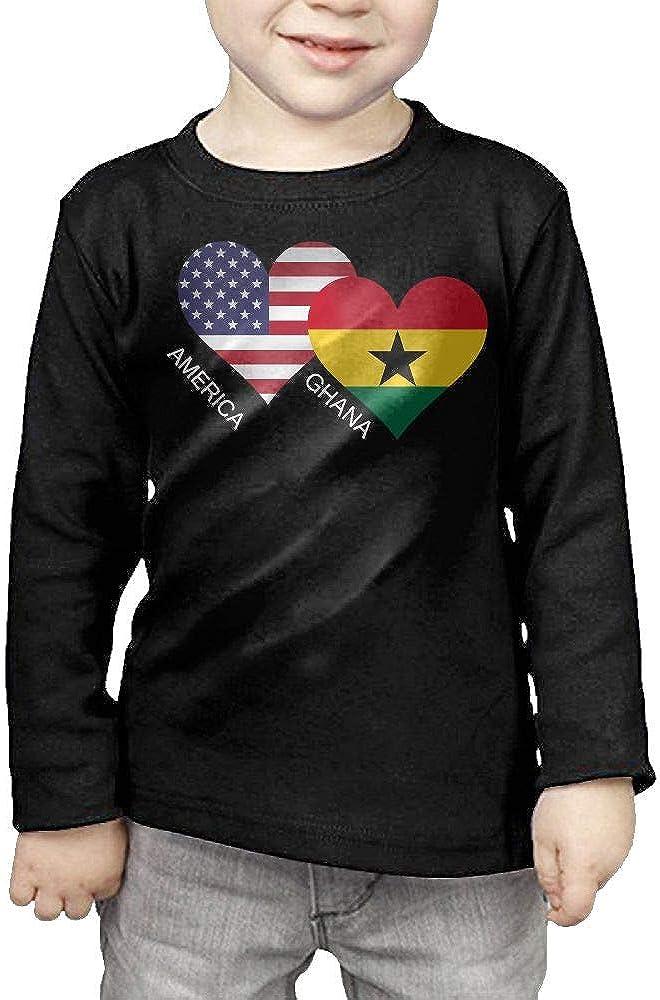 CERTONGCXTS Little Boys America Ghana Flag Heart ComfortSoft Long Sleeve Shirt