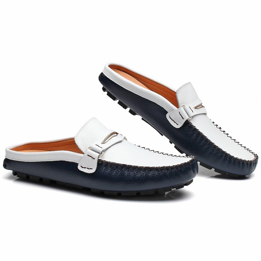 Jamron Hombres Cuero Dividido Mocasines Tacón Plano Mulas Casa Cuero Las Zapatillas sin talón Zapatillas Azul Marino SN19048 EU39.5: Amazon.es: Zapatos y ...