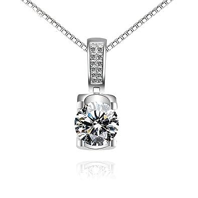 bcf6561e5e12 Blisfille Collar de Mujer de Fiesta Collar Mujer Bisuteria Colgantes Mujer  Plata de Ley Collar de Diamante Redondo