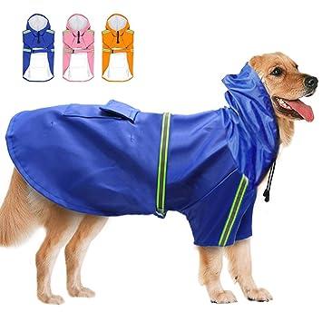 3XL 4XL 5XL Large Dog Raincoat Waterproof Pet Hooded Rain Jacket Outdoor Clothes