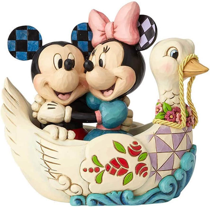 Enesco Disney Traditions by Jim Shore Mickey and Minnie Mouse Lovebirds Figurine, 5.38 Inch, Multicolor