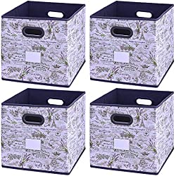 "Onlyeasy Cloth Storage Bins Cubes Boxes Fabric Baskets Containers - Foldable Closet Shelf Nursery Drawer Organizer for Home Closet Bedroom,13""x13""x13"", 4 Pack Lavender, 7MXLVBL04PL"
