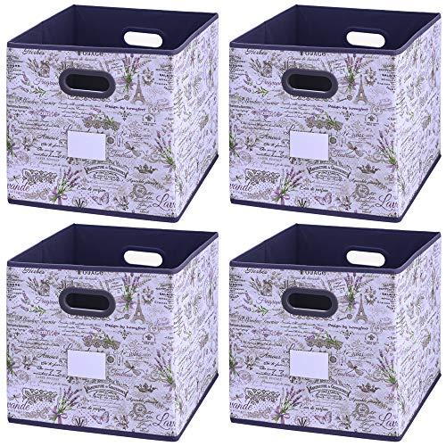 Onlyeasy - Cestas de almacenamiento plegables con soportes de etiquetas, juego de 6 organizadores de ropa plegables de tela...