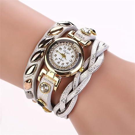 Amazon.com: Mujer NEW Fashion Femmes Mode Casual Bracelet En Cuir -Bracelet Femmes Robe Women Watches White: Beauty