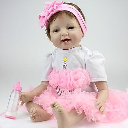 Decdeal - Muñecas bebes recién nacido conn pañal, 22 pulgadas