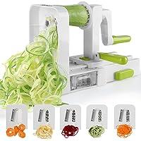 Sedhoom 003791 - Cortador de 5 Cuchillas para Cortar Frutas y Verduras en Espiral, Juliana, Espaguetis, Tallarines, Cintas o Fideos