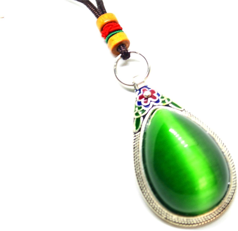 Plata verde piedra ojo de gato colgante collar de cuerda