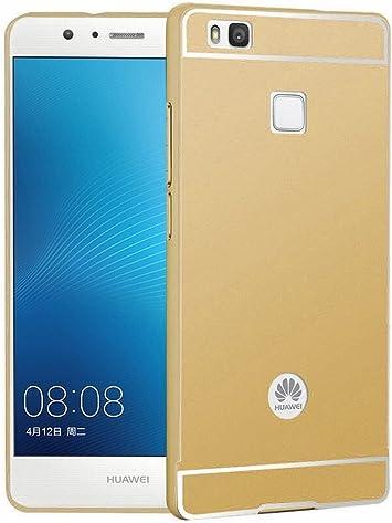 Tumundosmartphone Funda Bumper Dorada Aluminio + Tapa Trasera para Huawei P9 Lite: Amazon.es: Electrónica