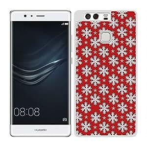 funda carcasa para Huawei P9 estampado copos de nieve fondo rojo borde blanco