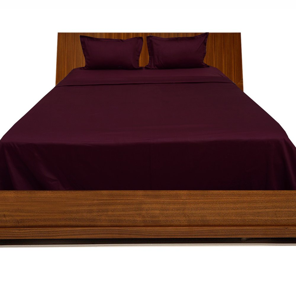 Relaxare Full XXL 300TC 100% Egyptian Cotton Wine Solid 4PCs Sheet Set Solid (Pocket Size: 11 inches)