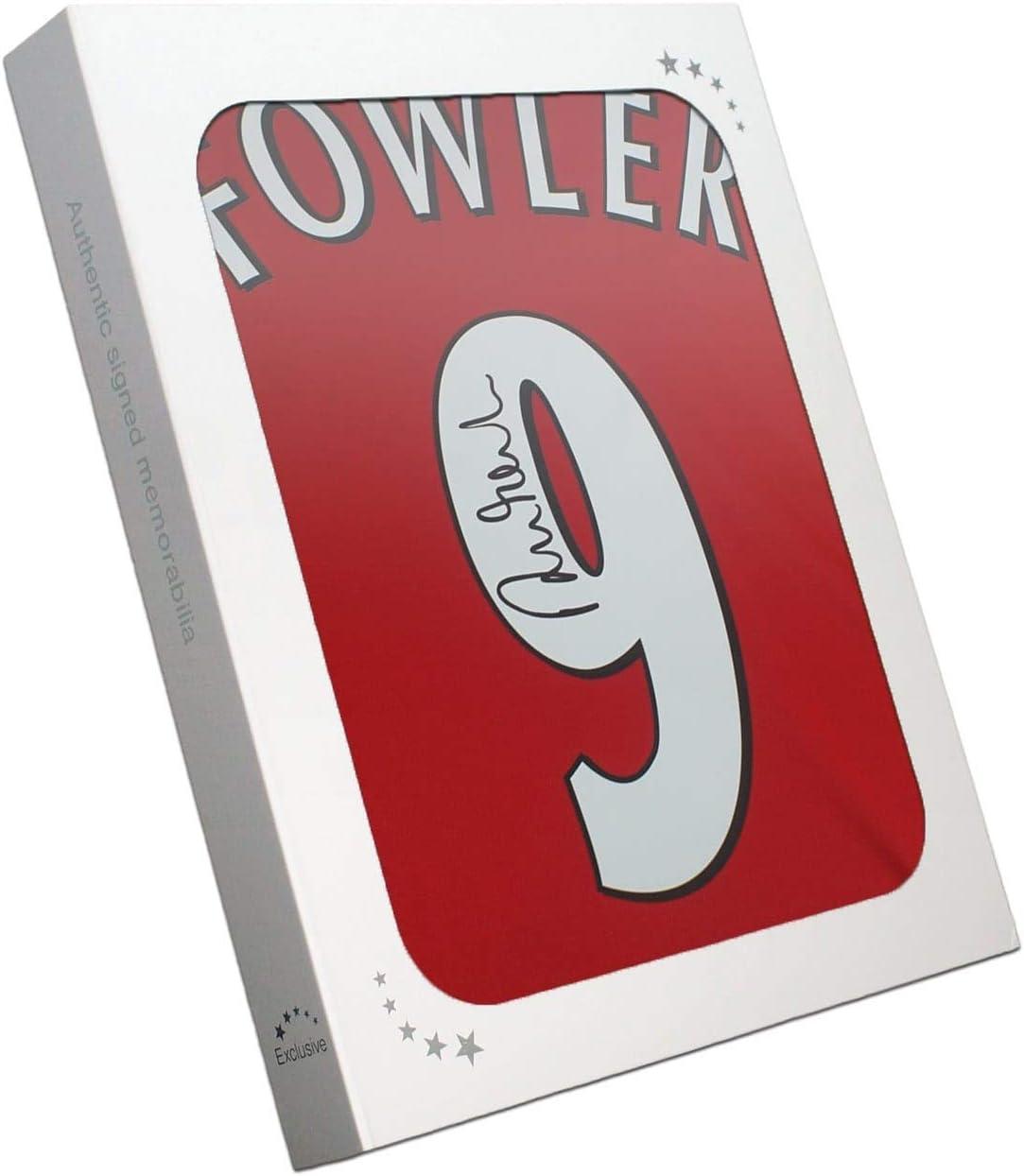 Exclusivo Memorabilia Robbie Fowler Back Firmado 2001 Liverpool Camisa en Caja de Regalo
