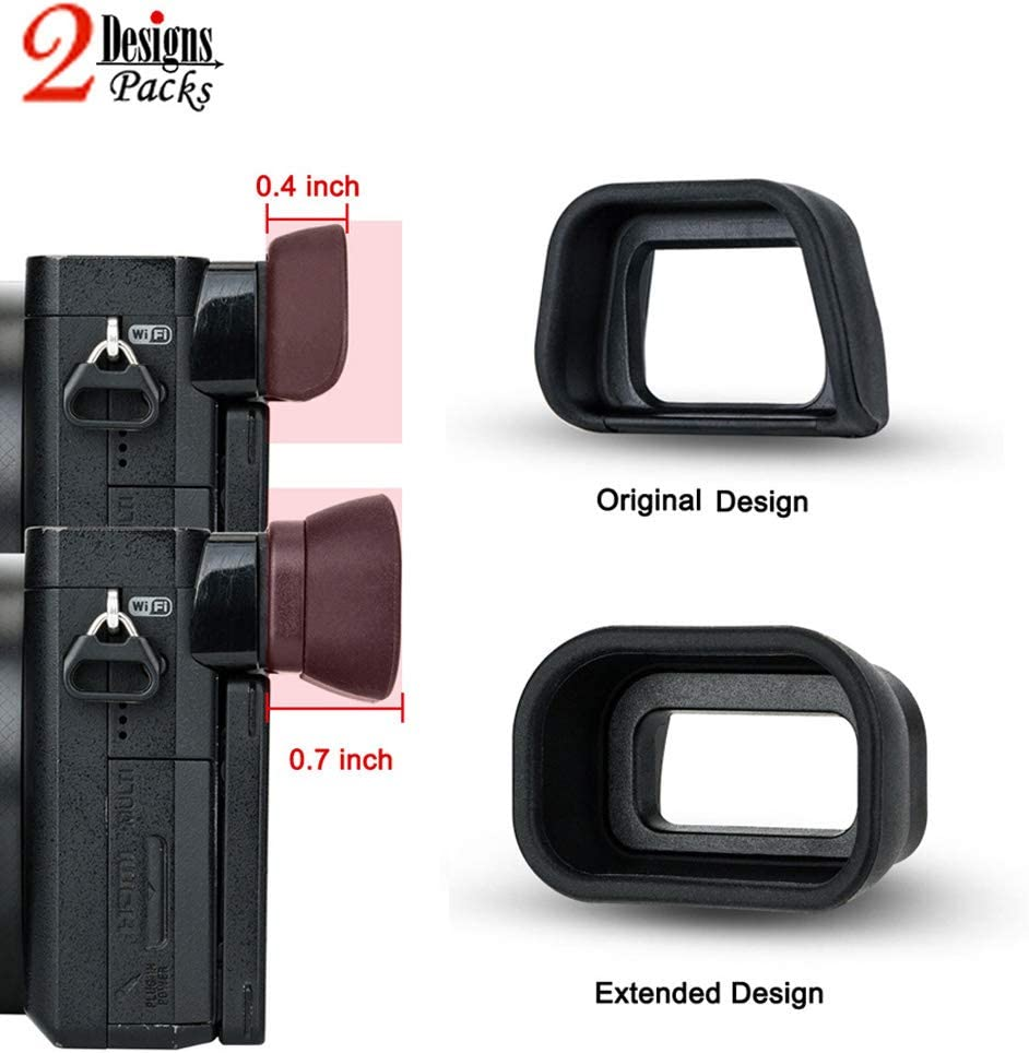 2 Types Eyecup Eyepiece Eyeshade for Sony a6300 a6100 a6000 NEX-7 NEX-6 Viewfinder Replaces Sony FDA-EP10 Eye Cup -2 Packs