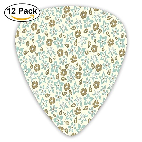 Newfood Ss Spring Meadow Inspired Pattern With Tulips Daisies Pansies Guitar Picks 12/Pack Set ()