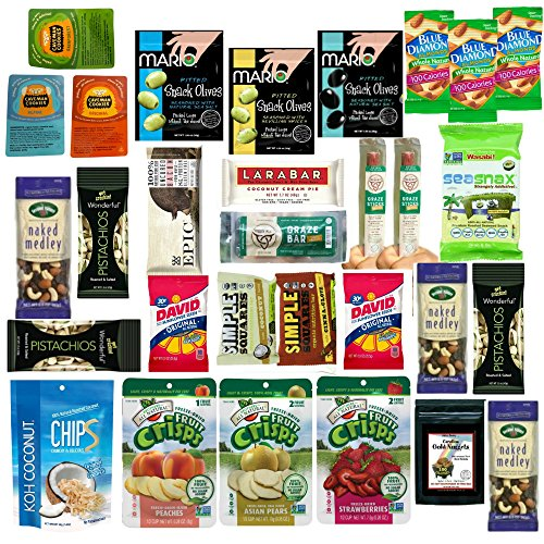 Healthy Snacks Variety Care Package, Paleo, GlutenFree, Natural Whole Foods, Individually Wrapped (30 Count) Box