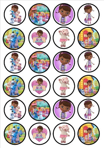24 Doc McStuffins Edible PREMIUM THICKNESS SWEETENED VANILLA, Wafer Rice Paper Cupcake Toppers/Decorations]()