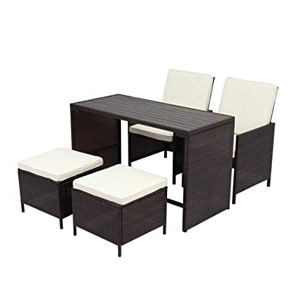 Wisteria Lane 5 Pcs Patio Furniture Dining Set Clearance Outdoor  All Weather Square Wicker Dining