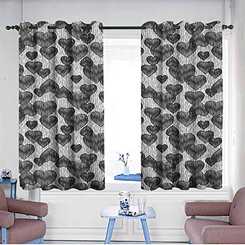 Waterproof Window Curtains,Romantic Gothic Hearts Tattoo Style Valentines Love Graffiti Grunge Illustration,Blackout Draperies for Bedroom,W63x63L Pale Grey Black