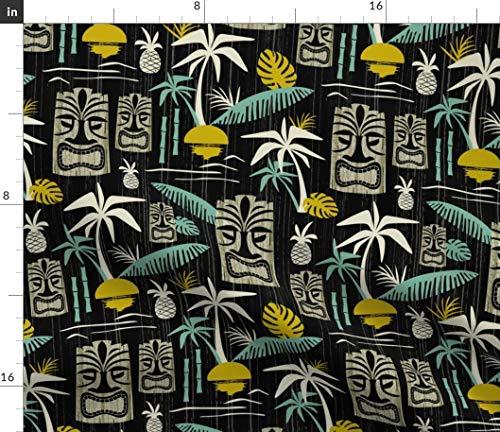 (Spoonflower Tiki Fabric - Tiki Tropical Hawaii Midcentury Modern Vintage Retro Palm Tree by Heatherdutton Printed on Eco Canvas Fabric by The Yard)