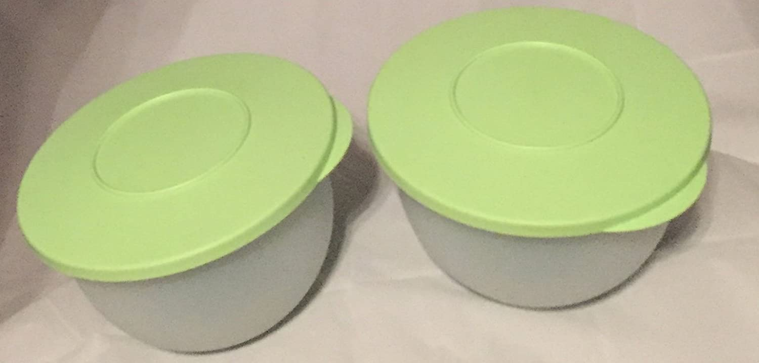 NEW Tupperware 1.3 Liter Impressions Bowl Bowls Small White Sheer Round Container Set of 2