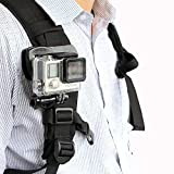 TELESIN 360 Degree Rotation Adjustable Backpack Clamp Mount for GoPro Hero 6 5 Black - 4 Session - 4 Silver - 3+ - SJ6000 - YI - LD6000 - Sony Sports DV and More