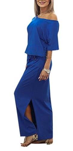 SKY Boho mujeres Vestido de fiesta largo de la tarde del verano de las mujeres con el bolsillo Bolsillo de abertura lateral vestido de manga corta de ancho