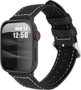 Fullmosa Compatible Apple Watch Band Leather 42mm 44mm 38mm 40mm for iWatch SE & Series 6/5/4/3/2/1,42mm/44mm Lichi Black + Silver Buckle