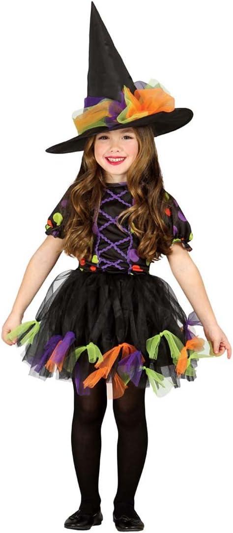 Amakando Vestido hechicera Malvada Infantil Disfraz Bruja niña L ...