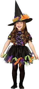 Amakando Vestido hechicera Malvada Infantil Disfraz Bruja niña S ...