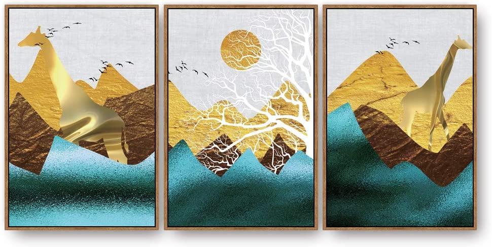 SIGNFORD 3 Panel Canvas Wall Art Nordic Minimalist Style Canvas Prints Painting Wall Decor for Living Room Wooden Framed Home Decorations 16x24 x 3 Panels