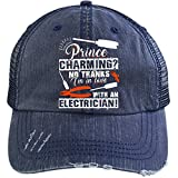 I'm In Love With An Electrician Hat, I'm An Electrician Trucker Cap (Trucker Cap - Navy)