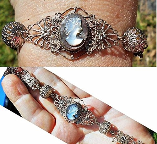 (Spun Silver Filigree Cameo Bracelet w/ Hand Carved Vintage Black Mother of Pearl Cameo, Hand Wrought Majestic Floral Accents Bracelet.)