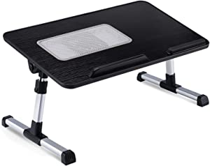 Bed Desk for Laptop, Adjustable Bed Table Tray Computer Desk, Portable Laptop Stand with USB Coolling Fan Height and Angle Adjustable for Eating, Working, Writing (Black, 11.8IN X 20.4IN)