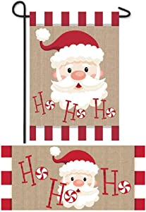 Evergreen Flag Christmas Winter Welcome Flag and Doormat Set of Two 12.5 x 18 inch Ho Ho Ho Santa Claus Garden Flag and Interchangeable Sassafras Mat for December Décor