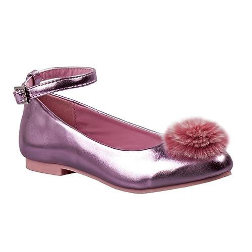 ccff0d9bb3e62 Nanette Lepore Girls Pink Faux Fur Adorned Ankle Strap Dress Shoes 11-4 Kids