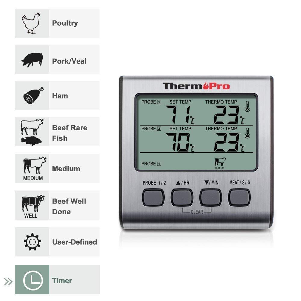 ThermoPro TP16S Term/ómetro Cocina Term/ómetros de Barbacoa Digitale para BBQ Parrilla Horno Carne Comida L/íquidos con Modo de Temporizador de Cocci/ón Inteligente y Retroiluminaci/ón