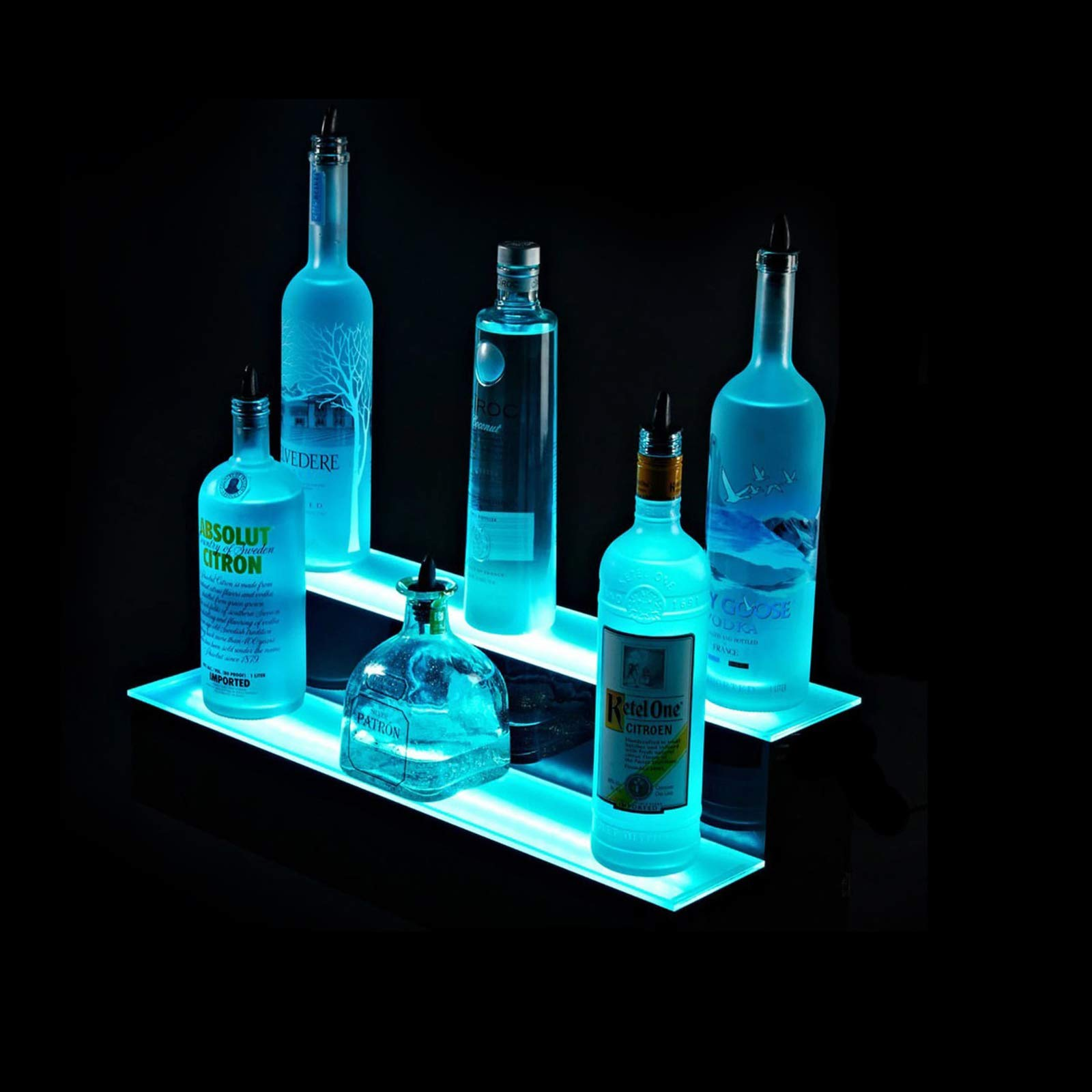 SUNCOO LED Lighted Liquor Bottle Display 16 inches 2 Step Illuminated Bottle Shelf 2 Tier Home Bar Bottle Shelf Drinks Lighting Shelves Home Bar Lighting with Remote Control