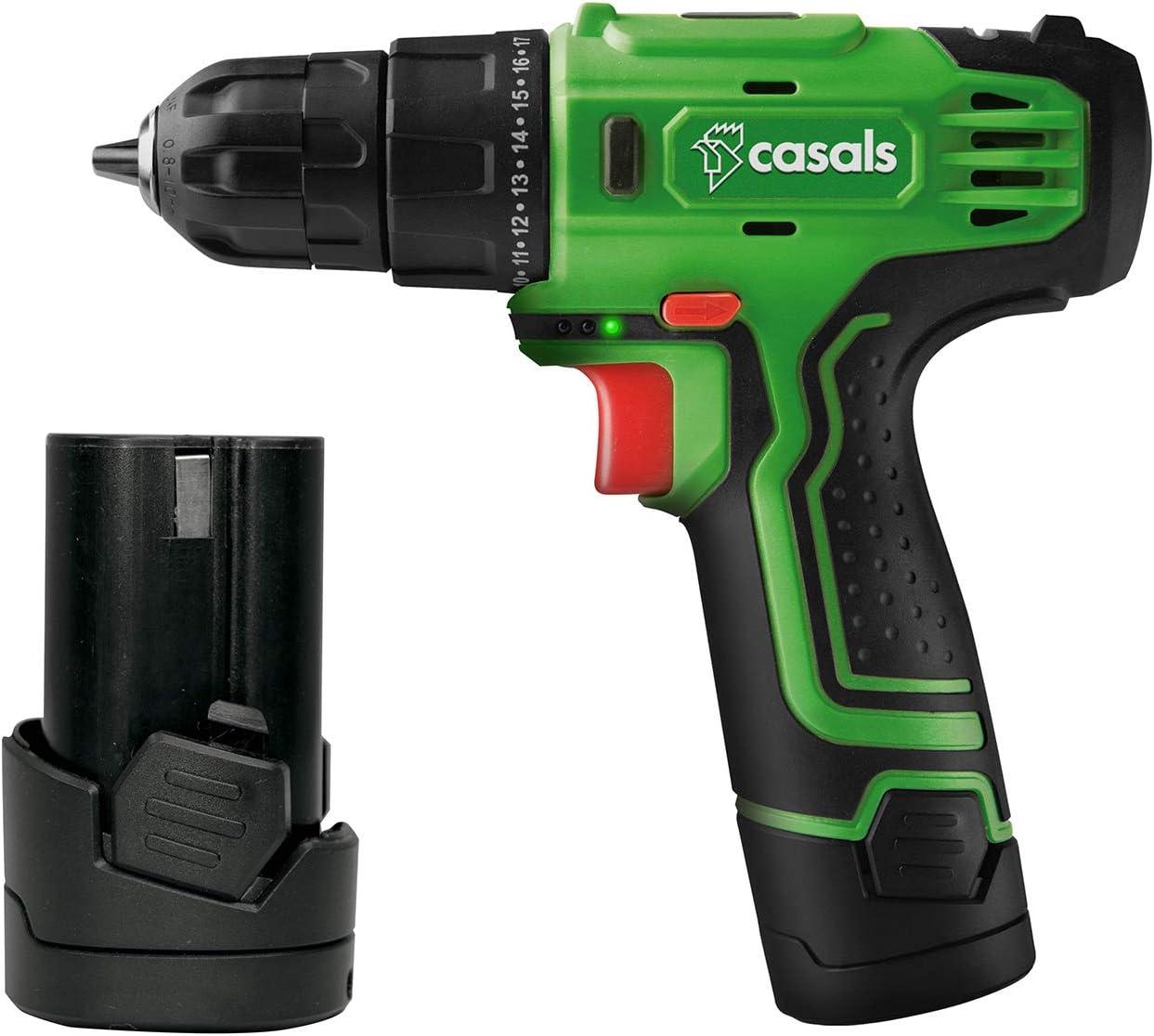 Casals VDLI12-2 - Taladro atornillador con batería de litio de 12 V (1,3 A-h, 750 rpm, 17 N-m, con batería adicional) color verde y negro