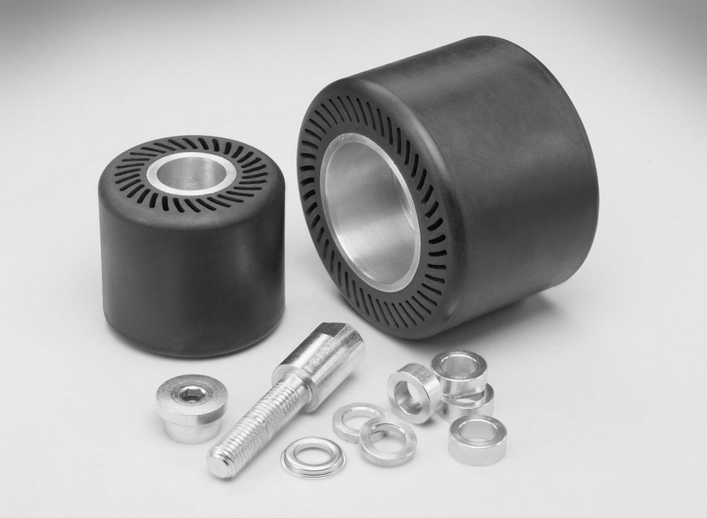3M(TM) Rubber Slotted Expander Wheel 28718, Slotted Drum, 5'' Diameter, 1'' Center Hole Diameter, 3500 rpm, Black (Pack of 1)